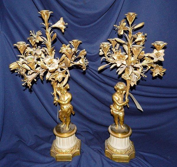 76: Pair of Gilt-Bronze Candelabras