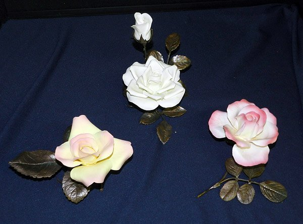 Lot of Three Porcelain Roses