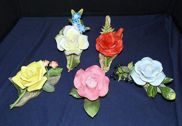 Lot of Five Boehm Porcelain Roses