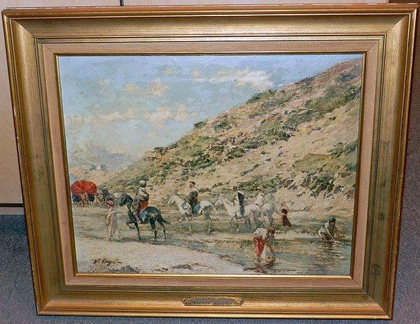Victor Huguet. Oil on Panel, Mid-East Scene