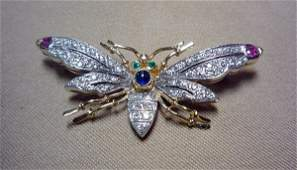 Diamond winged insect brooch