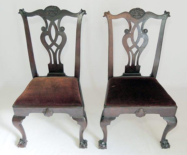 Pr. Philadelphia Chippendale Side Chairs