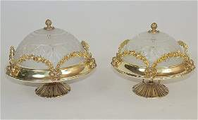 Two French Brass Mounted Glass Ceiling Fixtures