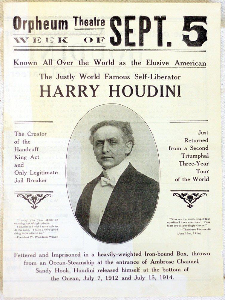 Houdini Newspaper Advertisement