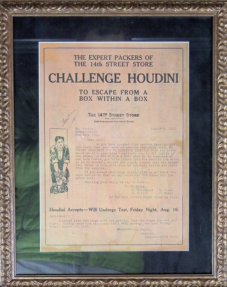 Autographed Harry Houdini Challenge
