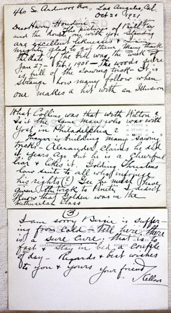 Harry Kellar/Houdini Letter