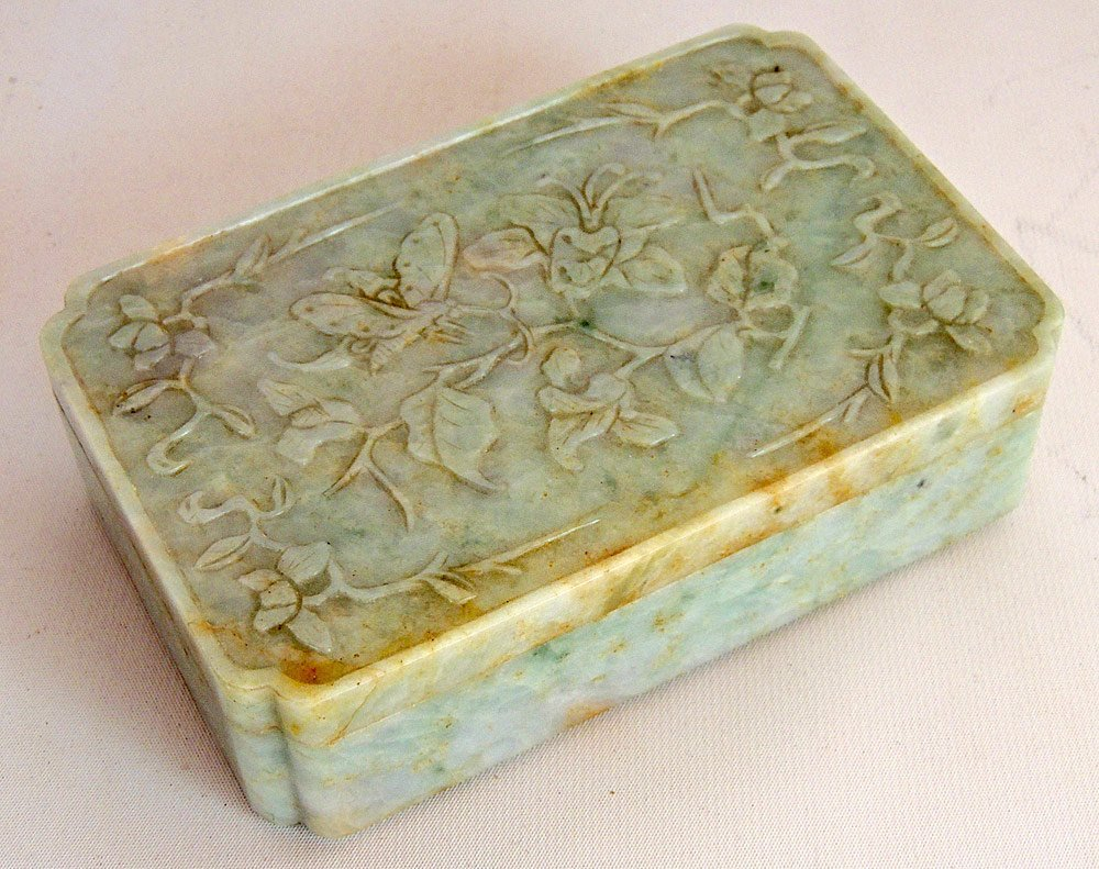 Chinese Carved Hardstone Covered Box
