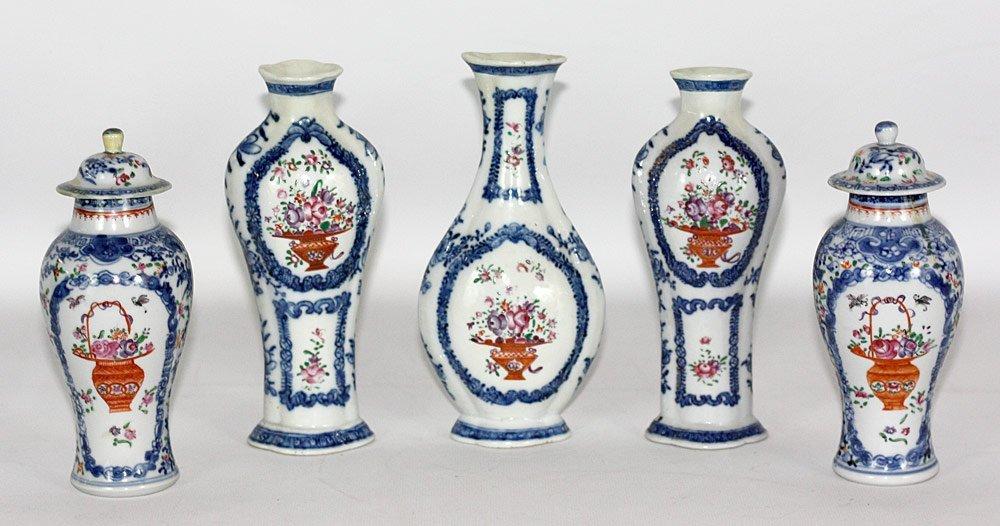 Assembled 18th C. Chinese Porcelain Garniture