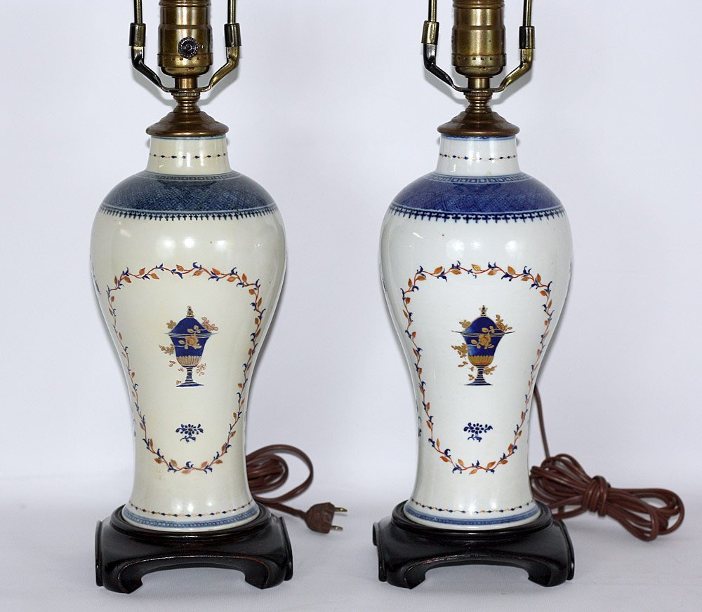 Pair of 18th Century Chinese Export Porcelain Vases