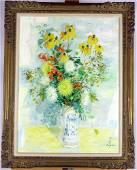 Le Pho. Oil on Canvas, Floral Still Life