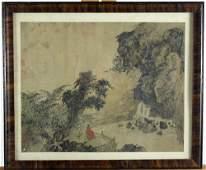 Antique Chinese Watercolor Landscape