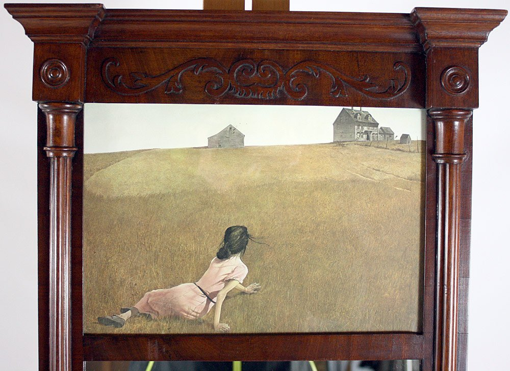 Mahogany Mirror With Andrew Wyeth Lithograph - 2