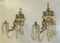 Pair of Brass Twolight Sconces