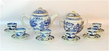 Assembled Chinese Canton Tea Set and Candlesticks