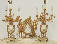 Louis XVI-style 3-piece Clock Garniture Set