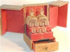 Antique Faux Book Bottle Case Decanter Set