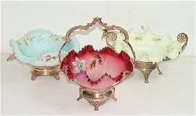 Three Victorian Art Glass Brides Baskets