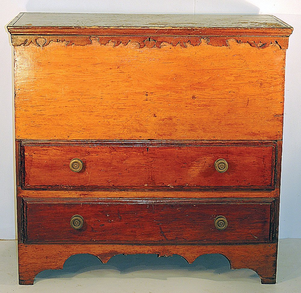 19th C.  New England Pine Mule Chest