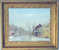 Walter E. Baum Oil on Canvas, Winter Street Scene