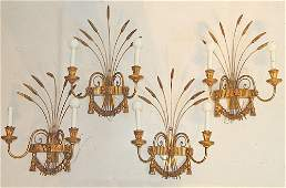 Four Italian Gilt Metal Sconces