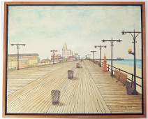Vestie Davis Oil on Canvas, Coney Island Boardwalk