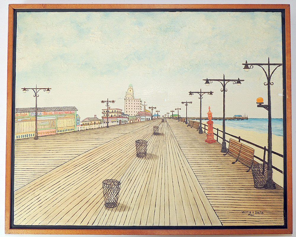 Vestie Davis Oil on Canvas, Coney Island Boardwalk