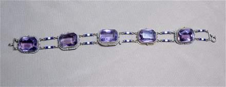 14K Amethyst and Enamel Bracelet