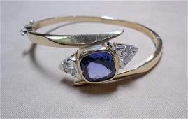 14K Hinged Bangle with Tanzanite and Diamonds