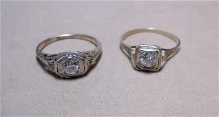 Two Diamond Rings in 14K Filigree Settings