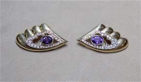 Pair of 18K Amethyst and Diamond Earrings