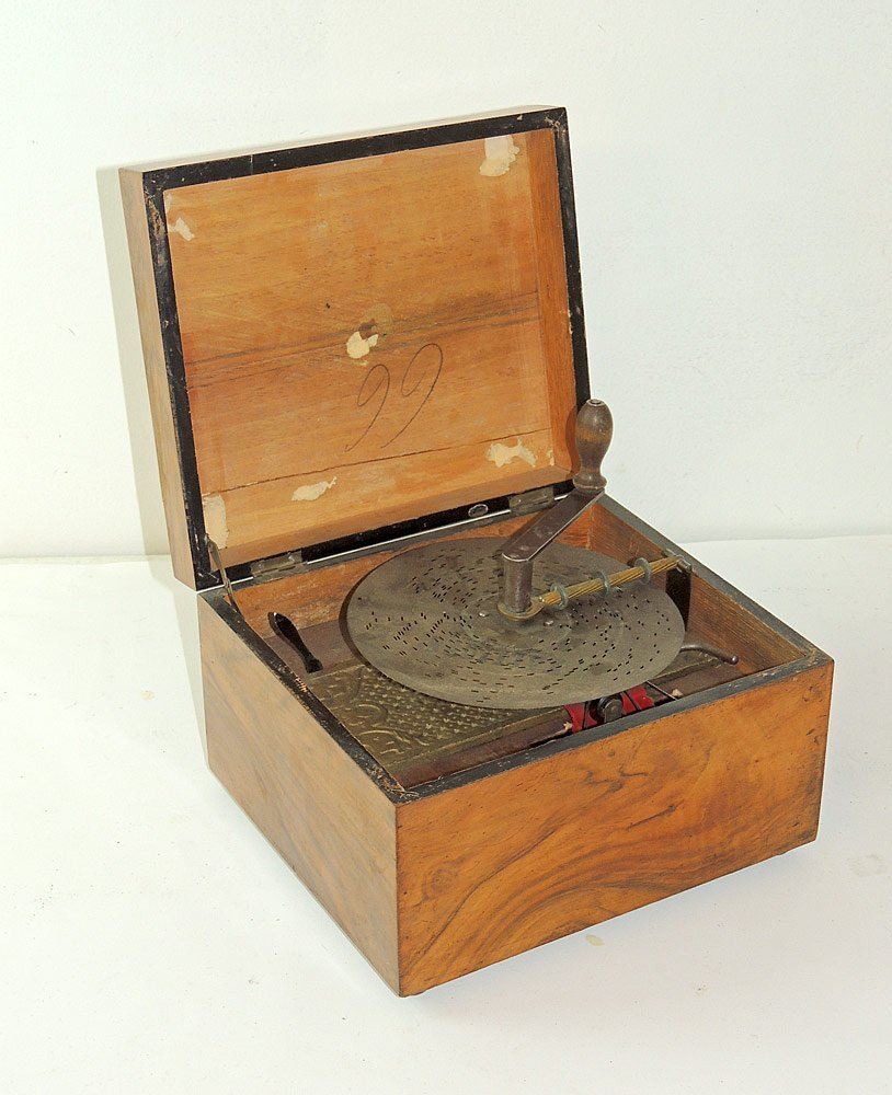 Tabletop Disc Music Box with Four Bells