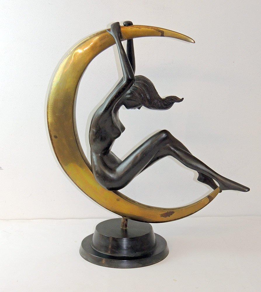 Art Deco Bronze & Brass Sculpture: Nude on Moon