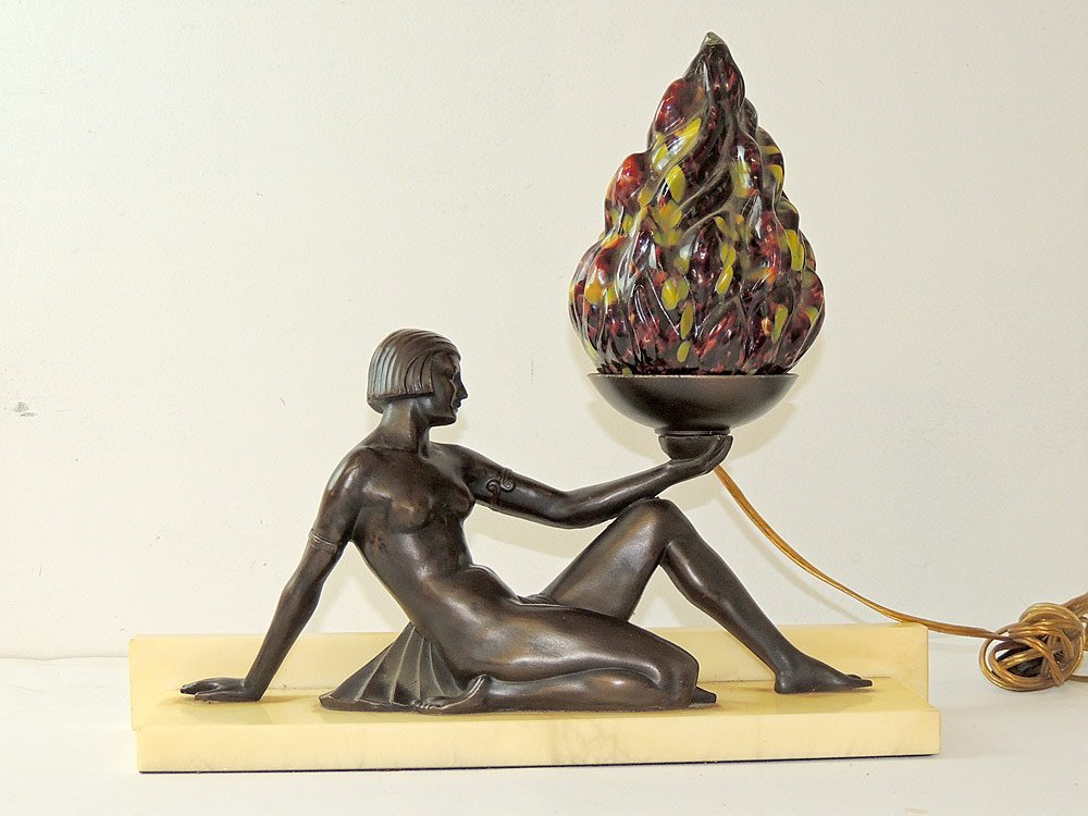 Art Deco Figural Lamp with Czech. Flame Shade