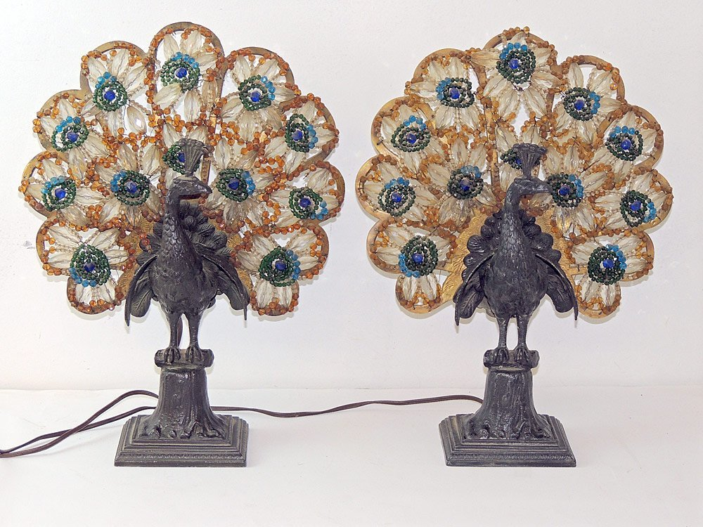 A Pair of Czech. Art Deco Peacock Lamps