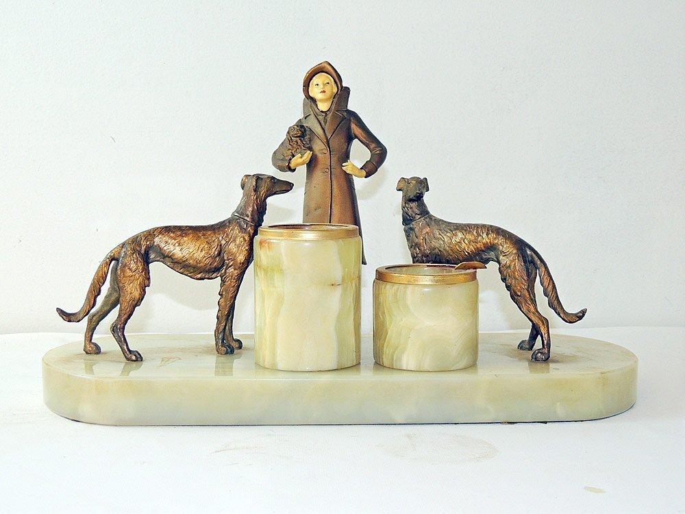 Art Deco Figural Three-pc. Cigarette Set
