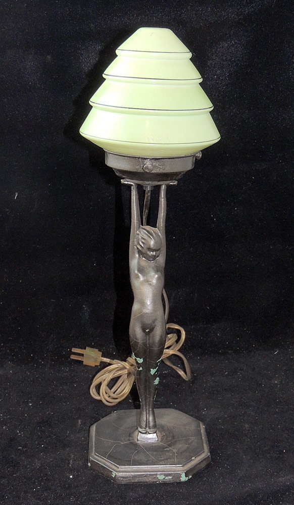 Frankart Figural Lamp with Art Glass Shade