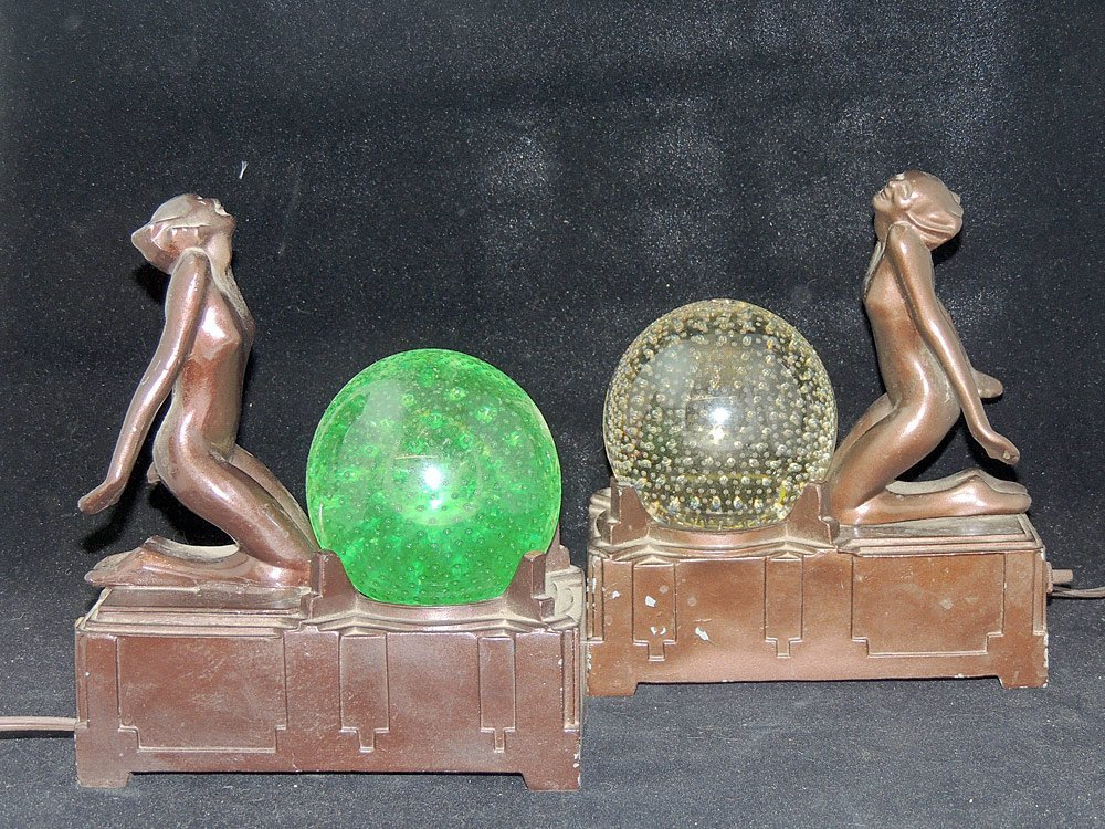 Pair of Frankart Figural Lamps with Glass Spheres