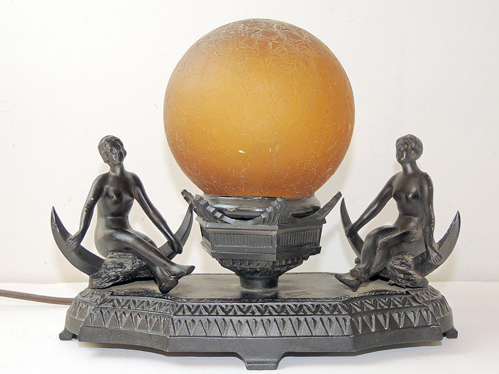 Art Deco Figural Lamp with Globe Shade