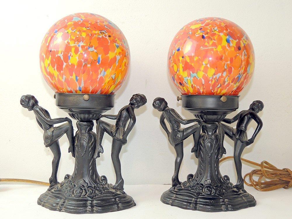 Pair of Art Deco Figural Lamps