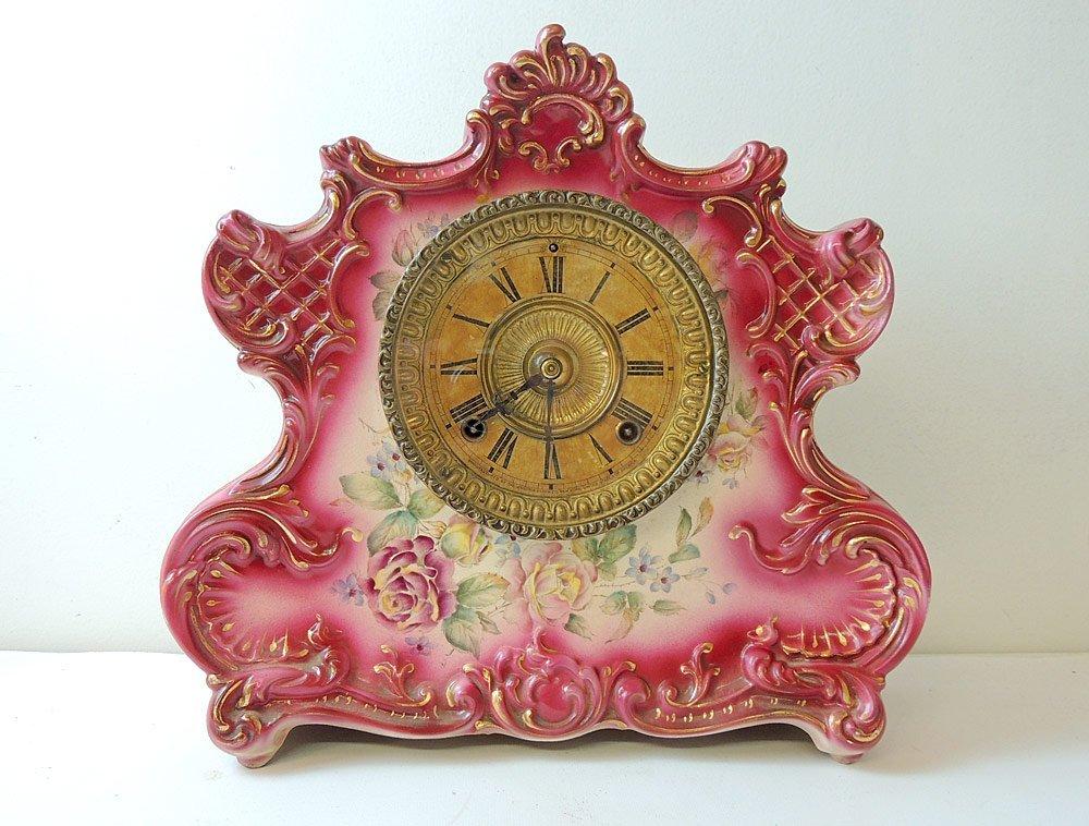 "Ansonia ""Dresden Extra"" Porcelain Mantel Clock"