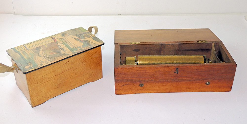 Two Small Wood-case Music Boxes