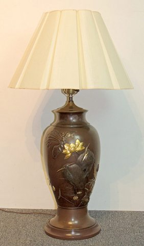 Japanese Bronze Table Lamp With Crane And Flowers