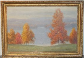 Gustave Wiegand Oil On Canvas: Autumn Landscape