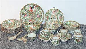 30 Pcs of Chinese Export Rose Medallion Porcelain