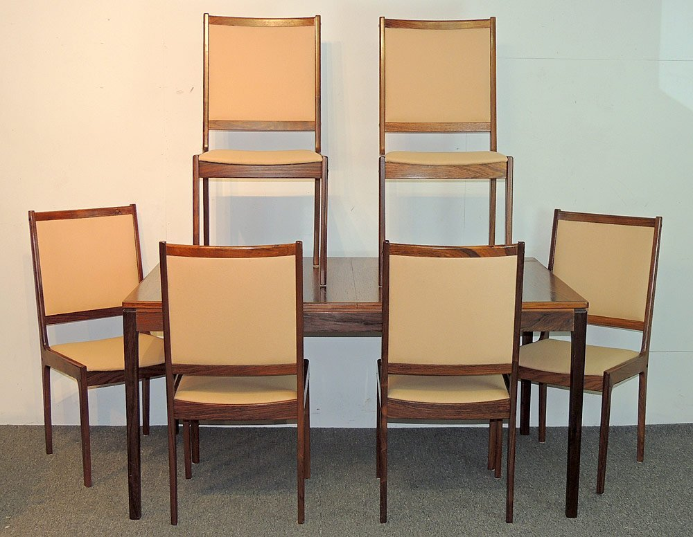 Danish Rosewood Dining Table and Six Chairs