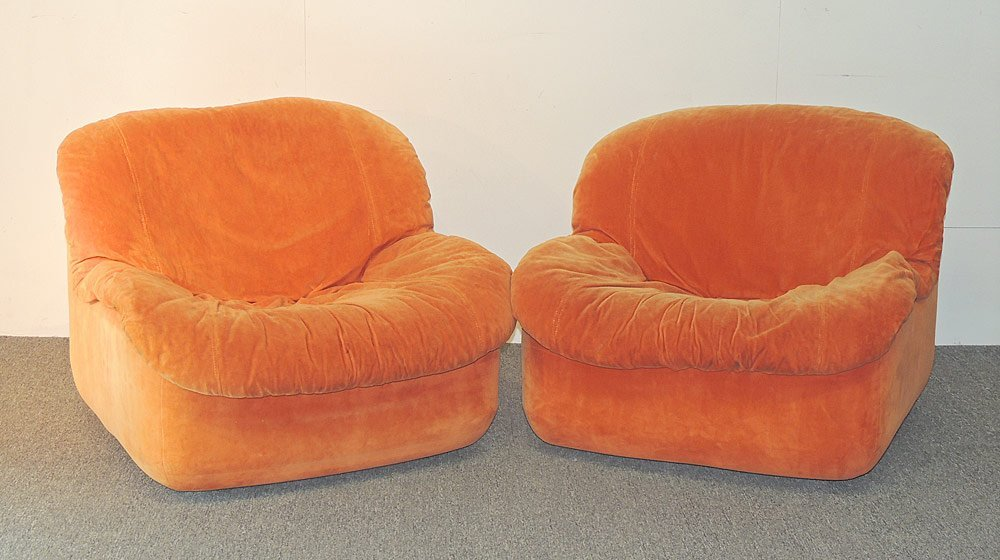 Pair of Modern Design Orange Swivel Chairs