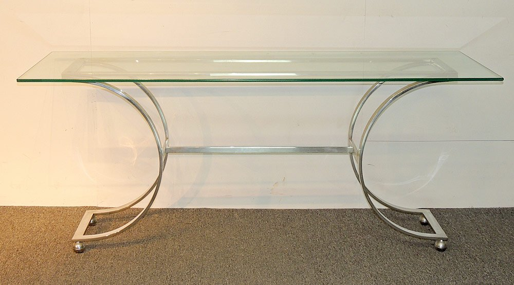 Decorator Chrome and Glass Console Table