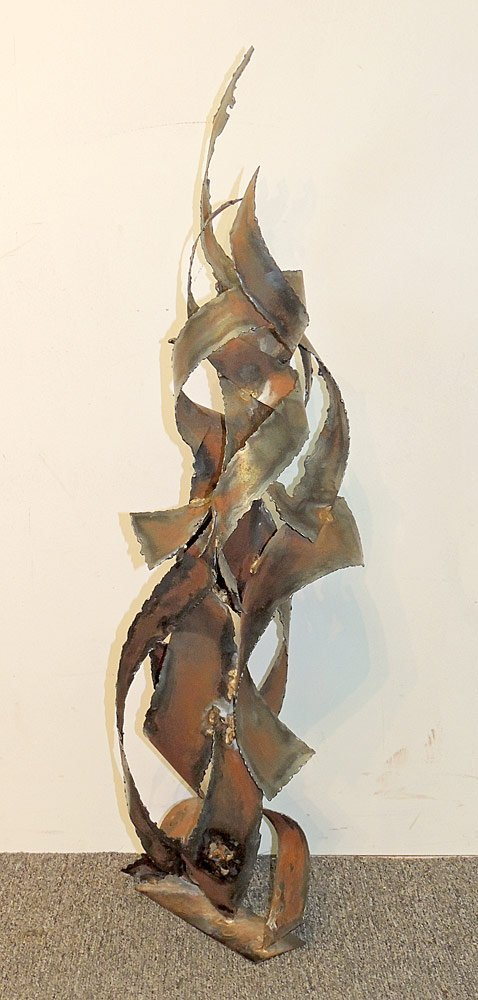 Brutalist Welded Metal Table Sculpture