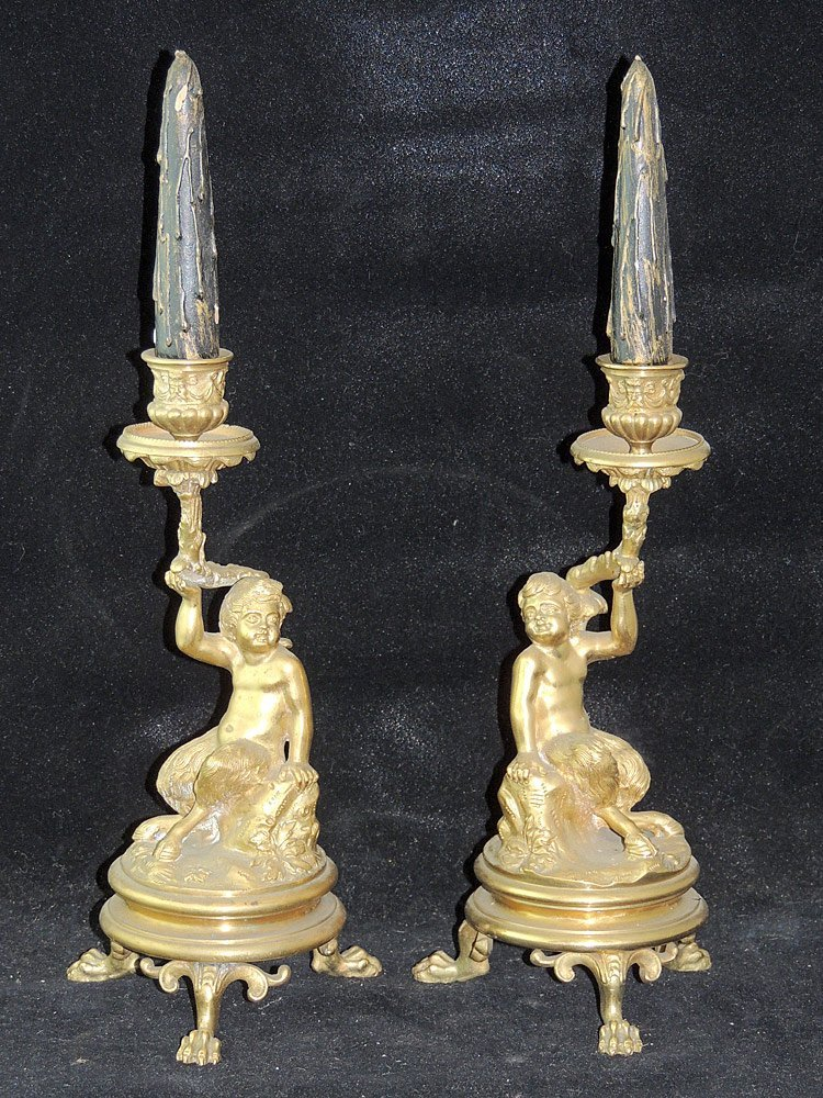 Pair of French Gilt Bronze Candlesticks