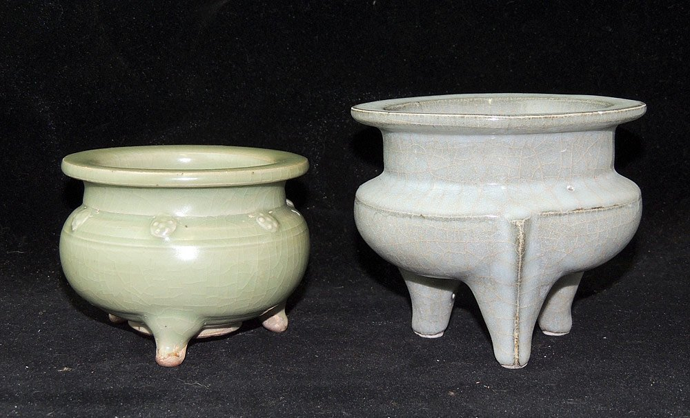 Two Chinese Crackle-glazed Pottery Censors